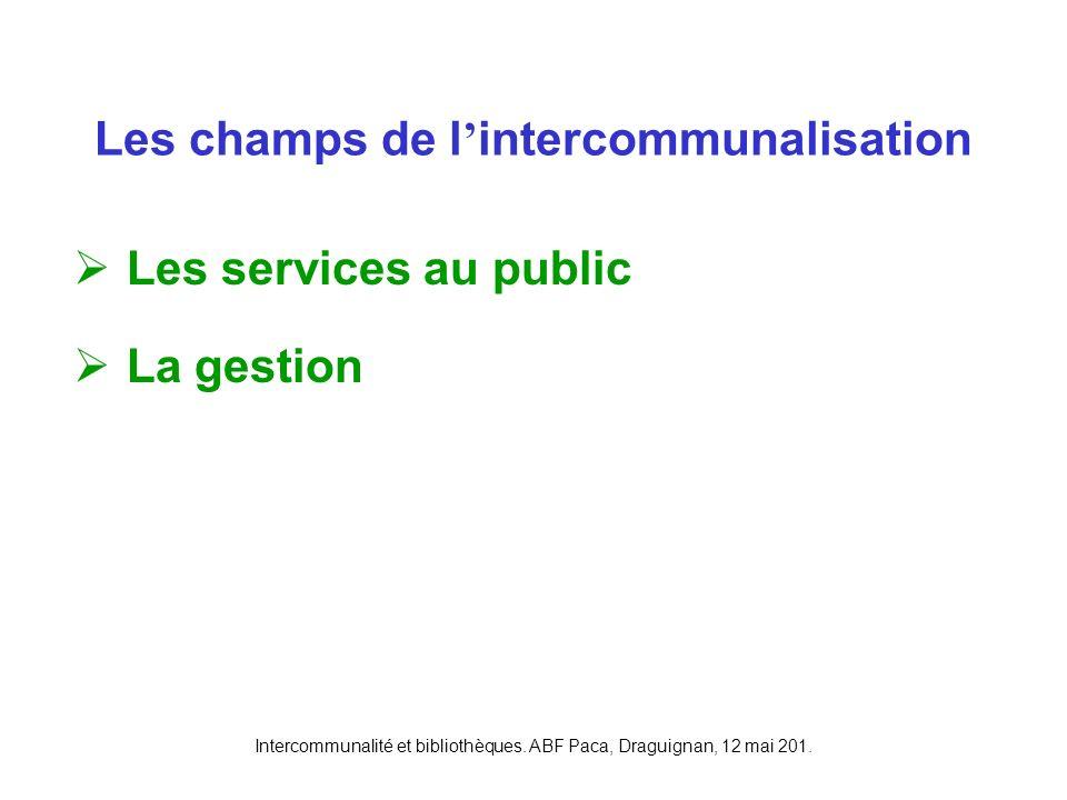 Intercommunalité et bibliothèques. ABF Paca, Draguignan, 12 mai 201. Les services au public La gestion Les champs de l intercommunalisation