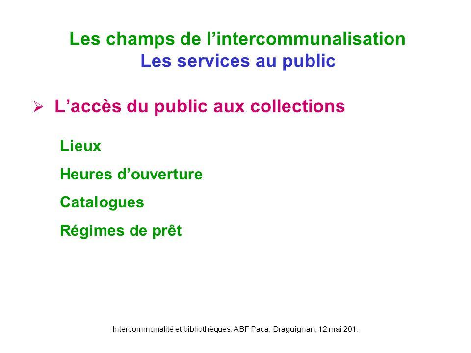 Intercommunalité et bibliothèques. ABF Paca, Draguignan, 12 mai 201. Laccès du public aux collections différenciées des différents points du réseau Le