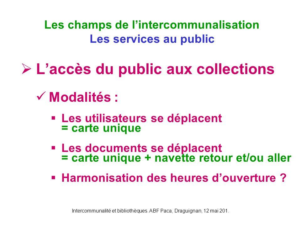 Intercommunalité et bibliothèques. ABF Paca, Draguignan, 12 mai 201. Laccès du public aux collections Modalités : Les utilisateurs se déplacent = cart