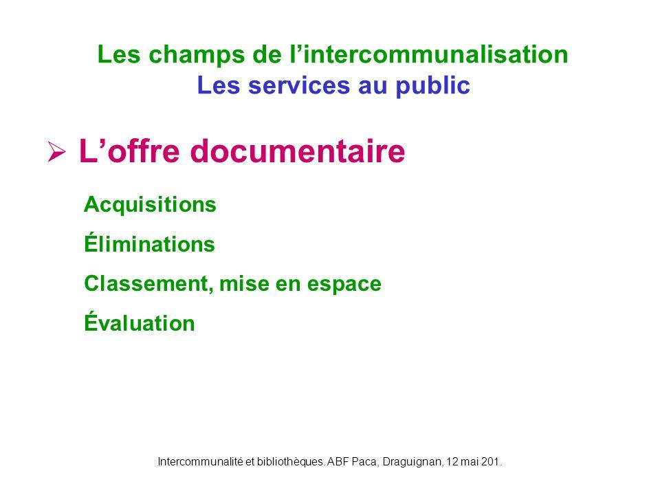 Intercommunalité et bibliothèques. ABF Paca, Draguignan, 12 mai 201. Loffre documentaire Les champs de lintercommunalisation Les services au public Ac