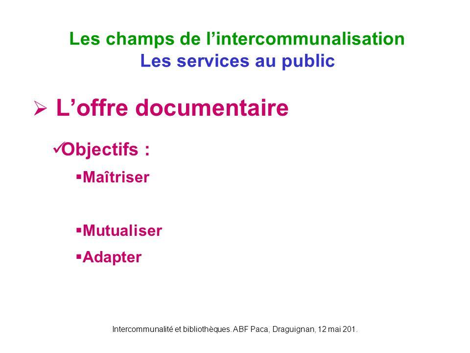 Intercommunalité et bibliothèques. ABF Paca, Draguignan, 12 mai 201. Loffre documentaire Les champs de lintercommunalisation Les services au public Ob
