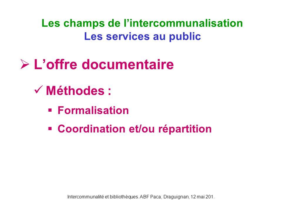 Intercommunalité et bibliothèques. ABF Paca, Draguignan, 12 mai 201. Loffre documentaire Méthodes : Formalisation Coordination et/ou répartition Les c