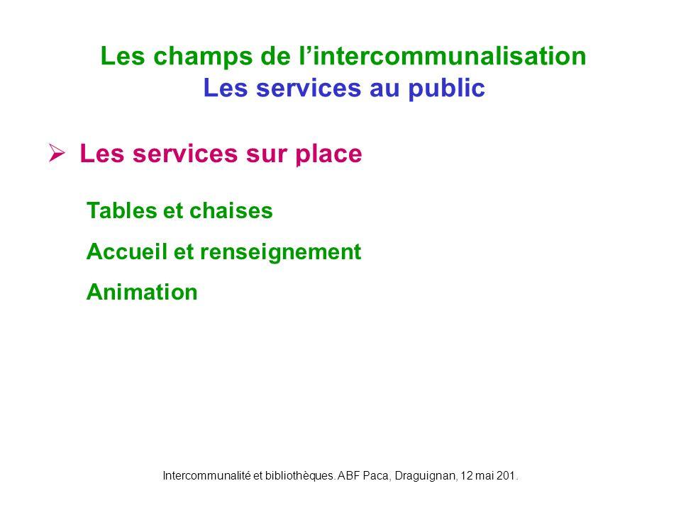 Intercommunalité et bibliothèques. ABF Paca, Draguignan, 12 mai 201. Les services sur place différenciées des différents points du réseau Les champs d