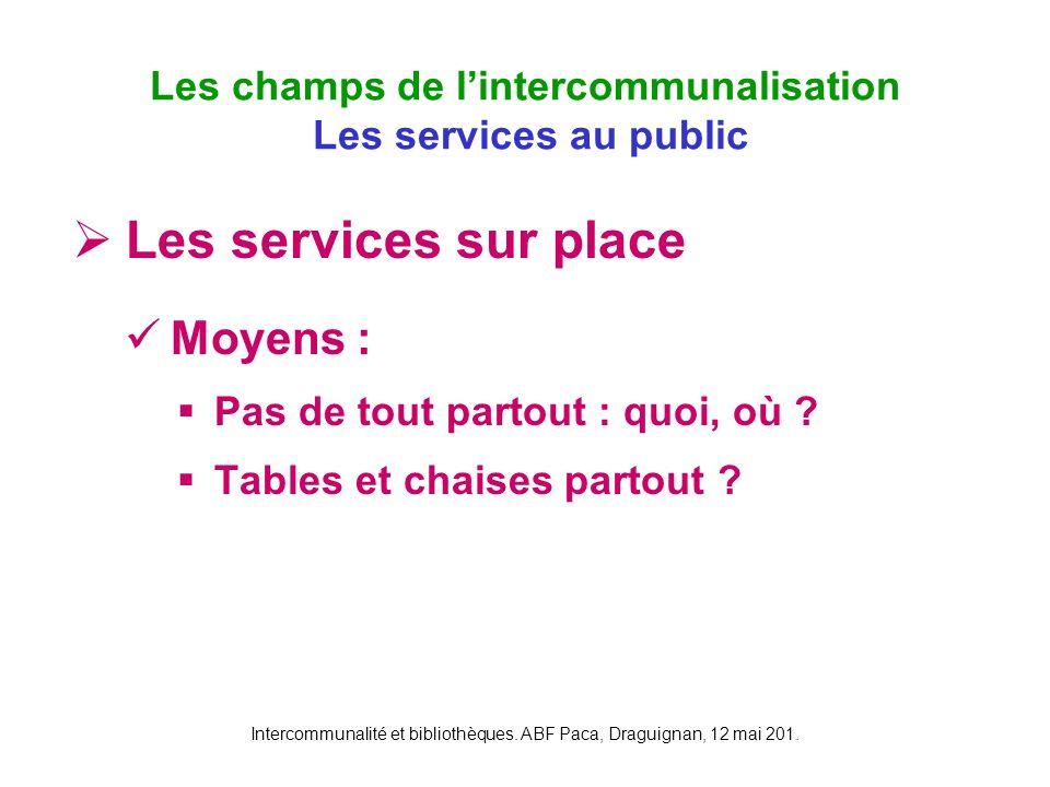 Intercommunalité et bibliothèques. ABF Paca, Draguignan, 12 mai 201. Les services sur place Moyens : Pas de tout partout : quoi, où ? Tables et chaise