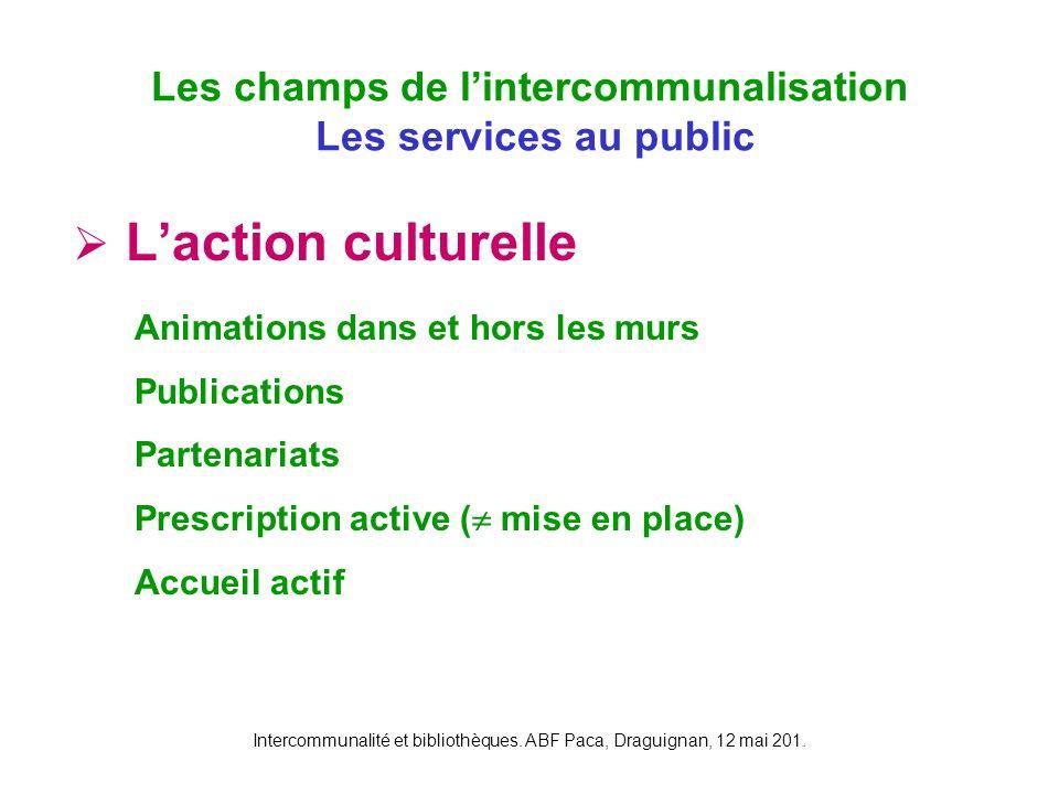Intercommunalité et bibliothèques. ABF Paca, Draguignan, 12 mai 201. Laction culturelle Les champs de lintercommunalisation Les services au public Ani