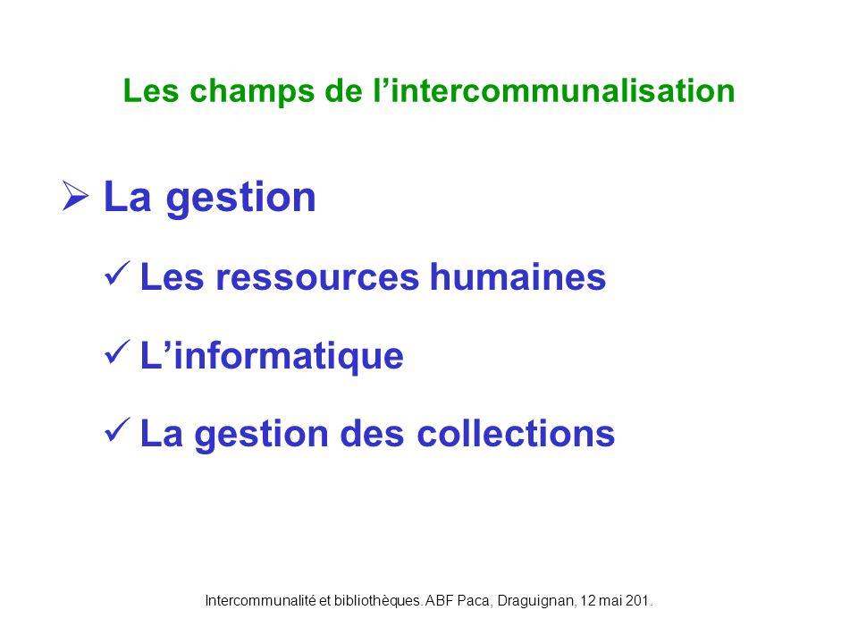 Intercommunalité et bibliothèques. ABF Paca, Draguignan, 12 mai 201. La gestion Les ressources humaines Linformatique La gestion des collections Les c