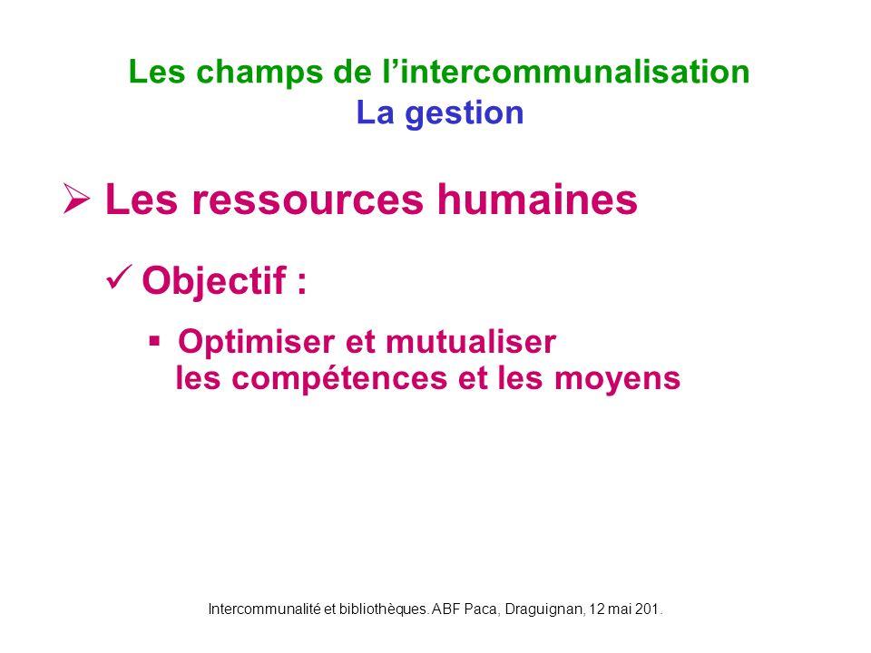 Intercommunalité et bibliothèques. ABF Paca, Draguignan, 12 mai 201. Les ressources humaines Objectif : Optimiser et mutualiser les compétences et les