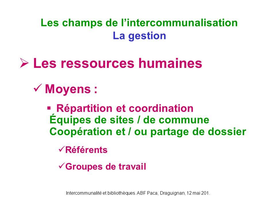 Intercommunalité et bibliothèques. ABF Paca, Draguignan, 12 mai 201. Les ressources humaines Moyens : Répartition et coordination Équipes de sites / d