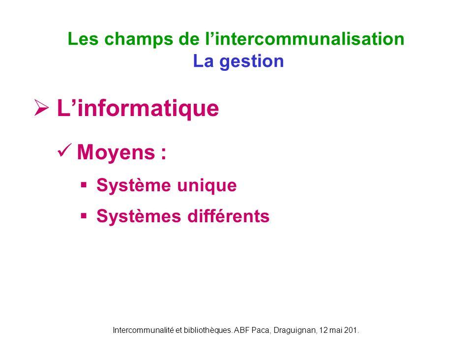 Intercommunalité et bibliothèques. ABF Paca, Draguignan, 12 mai 201. Linformatique Moyens : Système unique Systèmes différents Les champs de lintercom