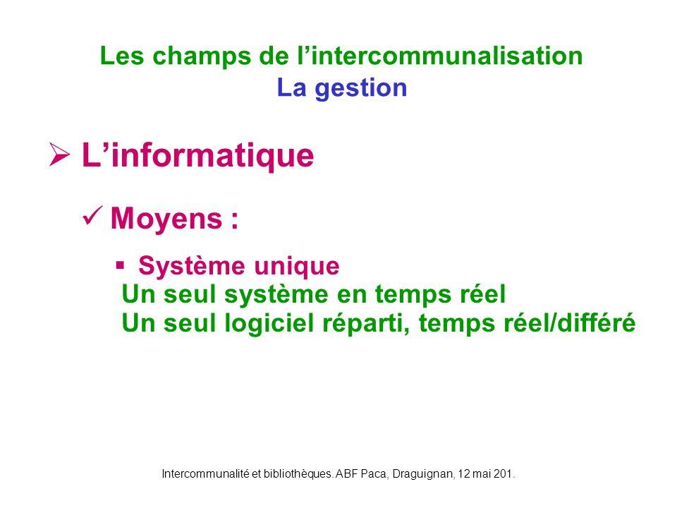 Intercommunalité et bibliothèques. ABF Paca, Draguignan, 12 mai 201. Linformatique Moyens : Système unique Un seul système en temps réel Un seul logic