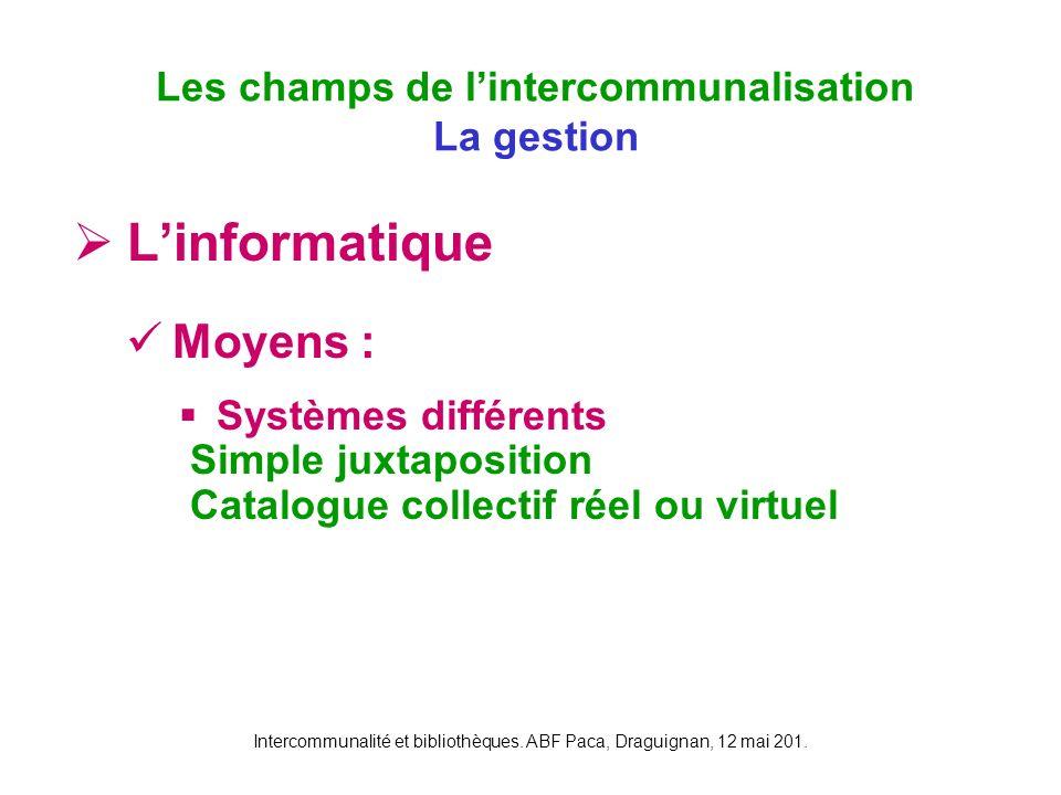 Intercommunalité et bibliothèques. ABF Paca, Draguignan, 12 mai 201. Linformatique Moyens : Systèmes différents Simple juxtaposition Catalogue collect