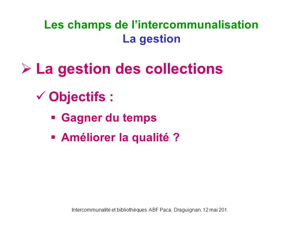 Intercommunalité et bibliothèques. ABF Paca, Draguignan, 12 mai 201. La gestion des collections Objectifs : Gagner du temps Améliorer la qualité ? Les