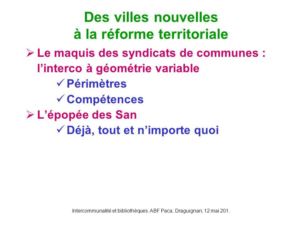 Intercommunalité et bibliothèques. ABF Paca, Draguignan, 12 mai 201. Le maquis des syndicats de communes : linterco à géométrie variable Périmètres Co