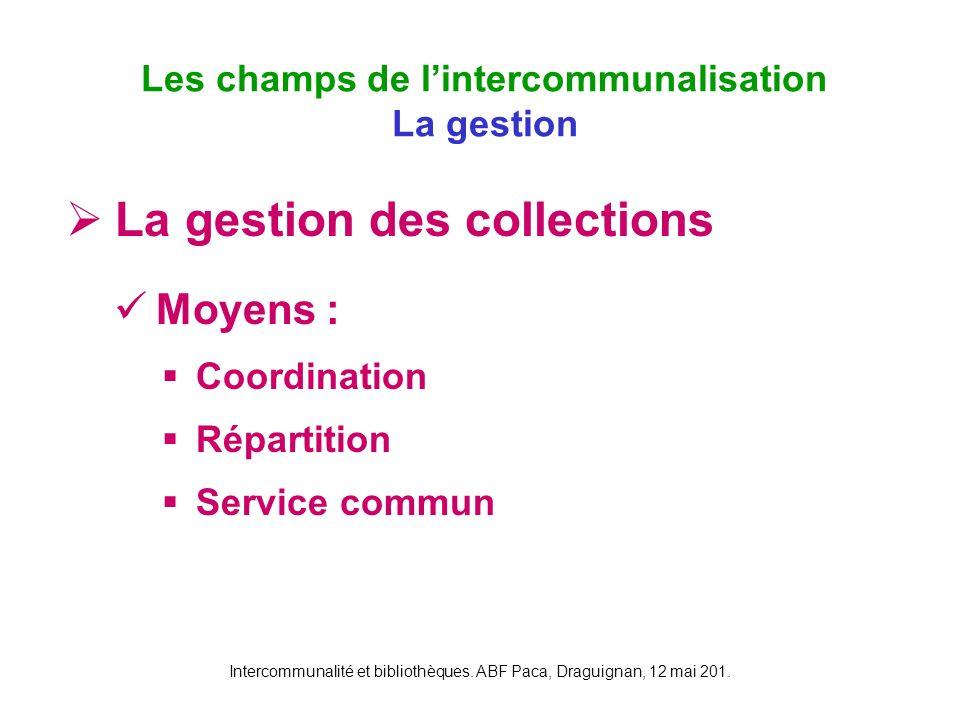 Intercommunalité et bibliothèques. ABF Paca, Draguignan, 12 mai 201. La gestion des collections Moyens : Coordination Répartition Service commun Les c