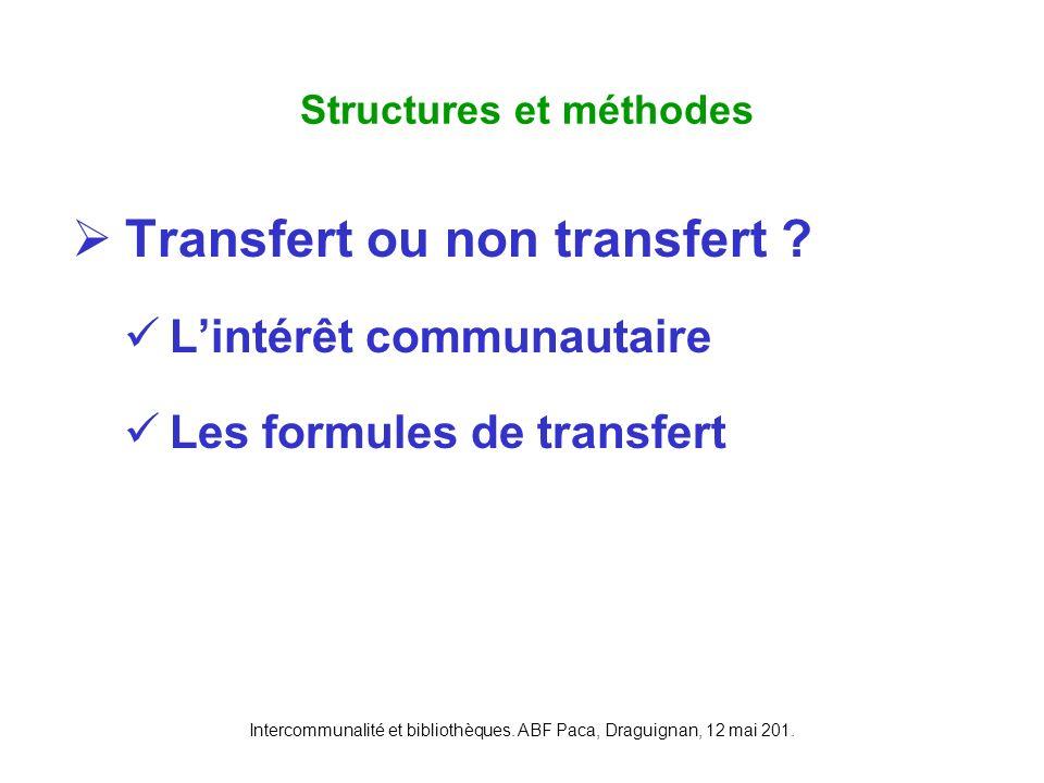 Intercommunalité et bibliothèques. ABF Paca, Draguignan, 12 mai 201. Transfert ou non transfert ? Lintérêt communautaire Les formules de transfert Str