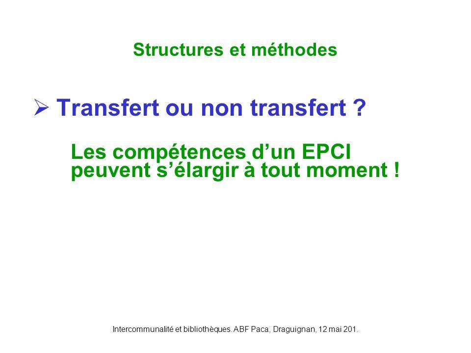 Intercommunalité et bibliothèques. ABF Paca, Draguignan, 12 mai 201. Transfert ou non transfert ? Les compétences dun EPCI peuvent sélargir à tout mom