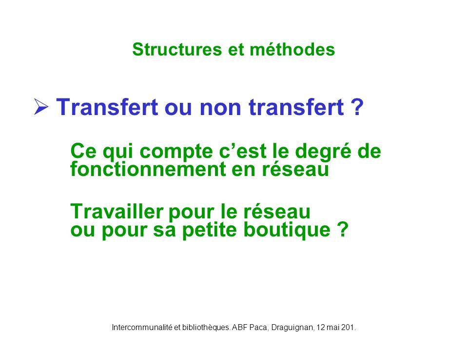 Intercommunalité et bibliothèques. ABF Paca, Draguignan, 12 mai 201. Transfert ou non transfert ? Ce qui compte cest le degré de fonctionnement en rés