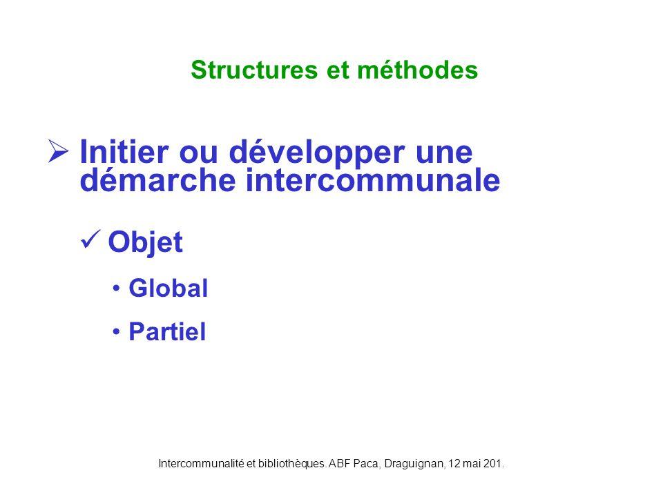 Intercommunalité et bibliothèques. ABF Paca, Draguignan, 12 mai 201. Initier ou développer une démarche intercommunale Objet Global Partiel Structures