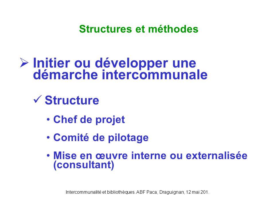 Intercommunalité et bibliothèques. ABF Paca, Draguignan, 12 mai 201. Initier ou développer une démarche intercommunale Structure Chef de projet Comité