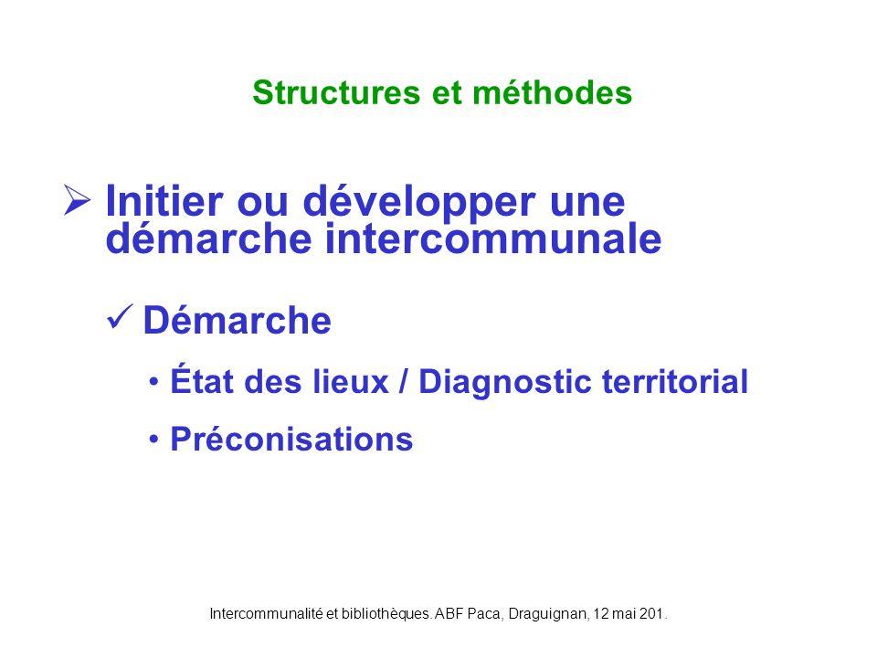 Intercommunalité et bibliothèques. ABF Paca, Draguignan, 12 mai 201. Initier ou développer une démarche intercommunale Démarche État des lieux / Diagn