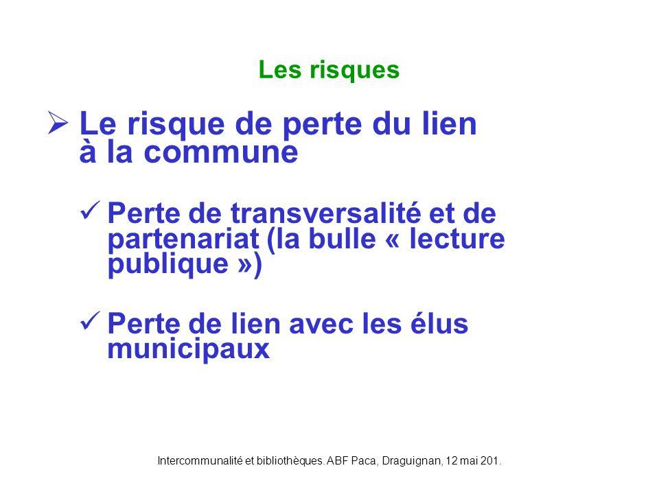 Intercommunalité et bibliothèques. ABF Paca, Draguignan, 12 mai 201. Le risque de perte du lien à la commune Perte de transversalité et de partenariat