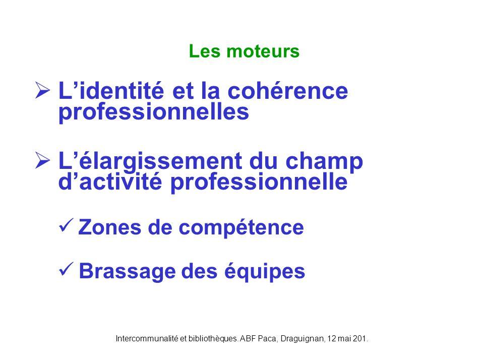 Intercommunalité et bibliothèques. ABF Paca, Draguignan, 12 mai 201. Lidentité et la cohérence professionnelles Lélargissement du champ dactivité prof