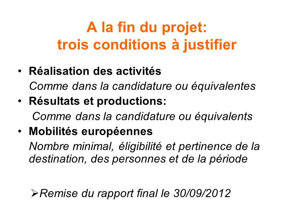 A la fin du projet: trois conditions à justifier Réalisation des activités Comme dans la candidature ou équivalentes Résultats et productions: Comme d