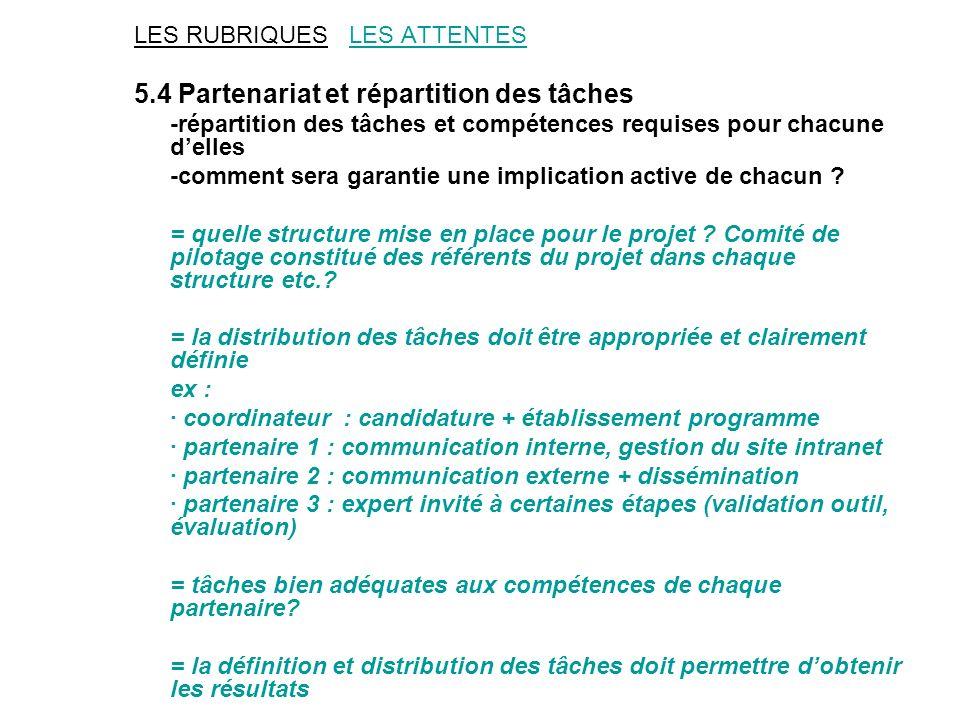 LES RUBRIQUES LES ATTENTES 5.4 Partenariat et répartition des tâches -répartition des tâches et compétences requises pour chacune delles -comment sera