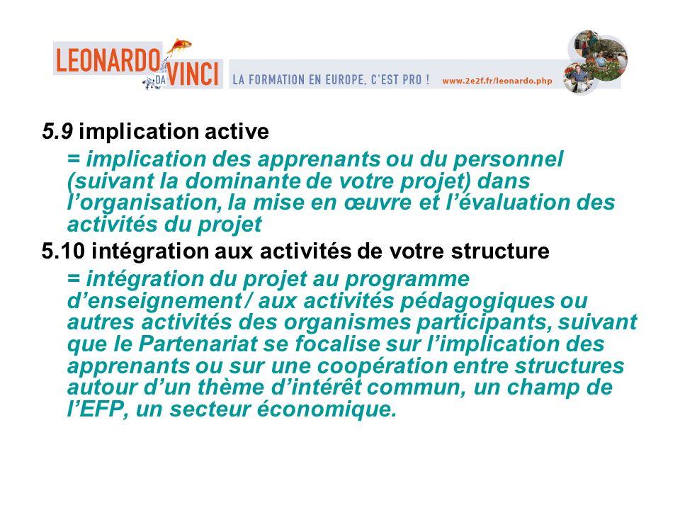 5.9 implication active = implication des apprenants ou du personnel (suivant la dominante de votre projet) dans lorganisation, la mise en œuvre et lév