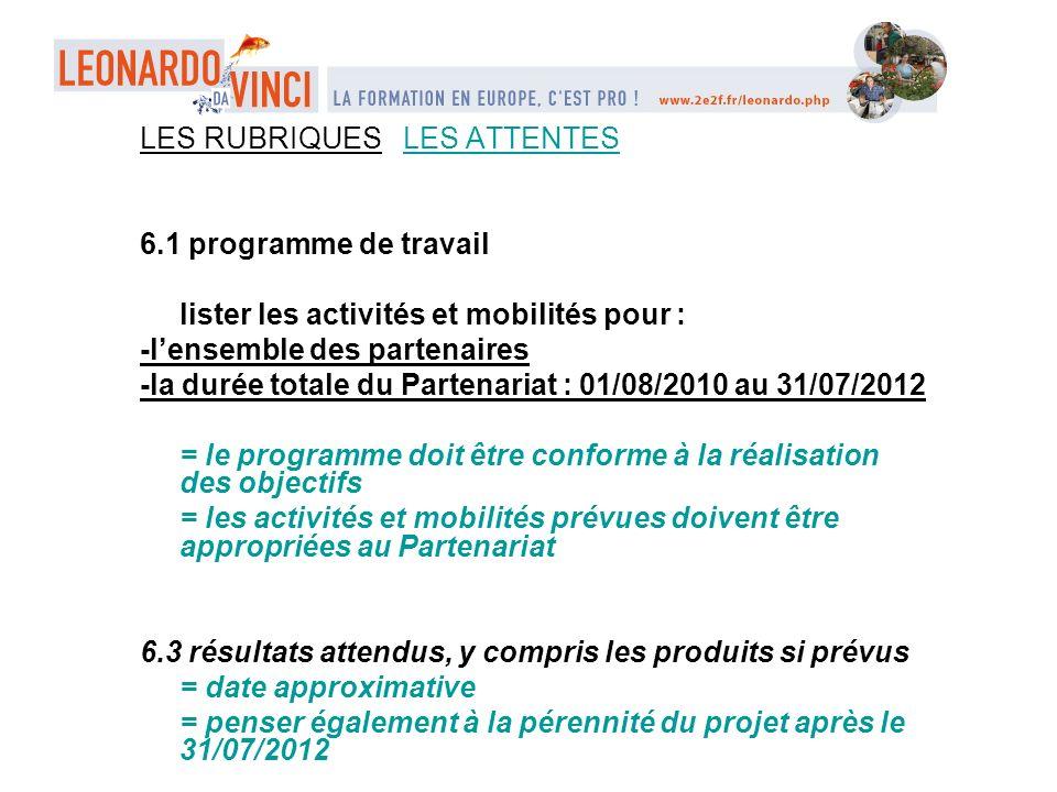 LES RUBRIQUES LES ATTENTES 6.1 programme de travail lister les activités et mobilités pour : -lensemble des partenaires -la durée totale du Partenaria