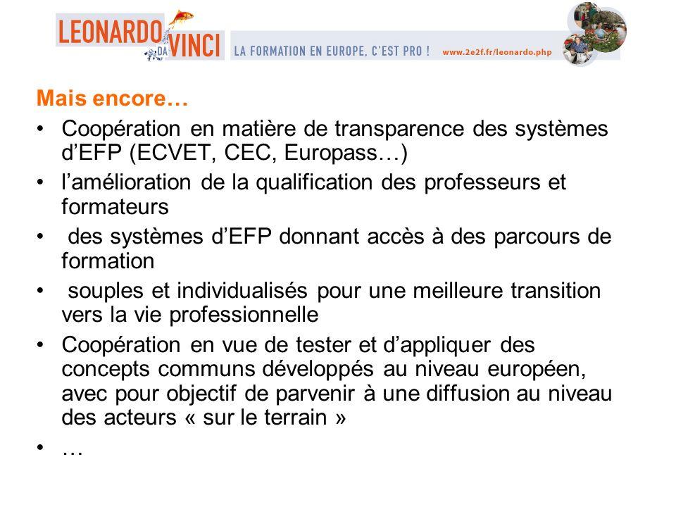 Mais encore… Coopération en matière de transparence des systèmes dEFP (ECVET, CEC, Europass…) lamélioration de la qualification des professeurs et for