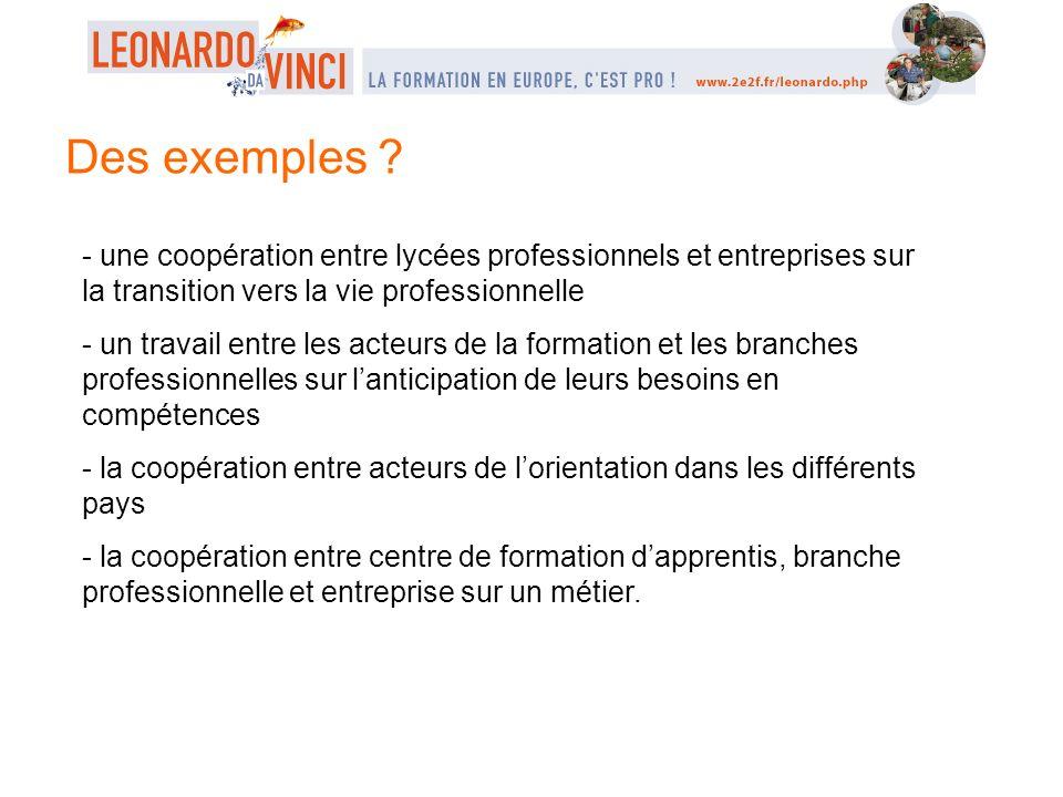 Des exemples ? - une coopération entre lycées professionnels et entreprises sur la transition vers la vie professionnelle - un travail entre les acteu