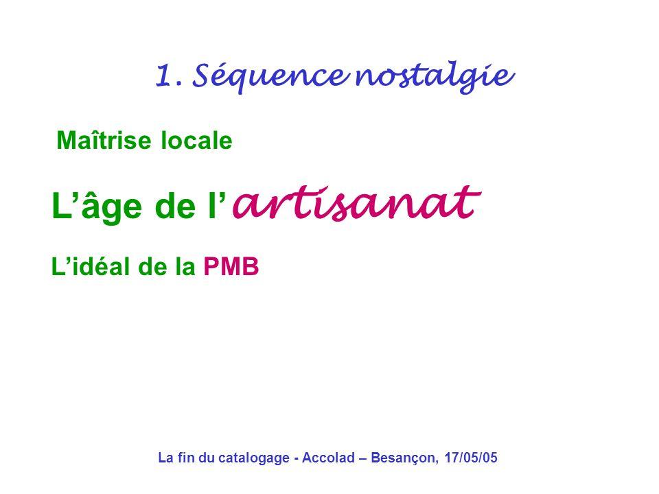 La fin du catalogage - Accolad – Besançon, 17/05/05 Maîtrise locale des fonds de leur description des codes 1.