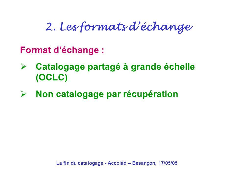 La fin du catalogage - Accolad – Besançon, 17/05/05 … et le catalogage a failli mourir pour la première fois 2.