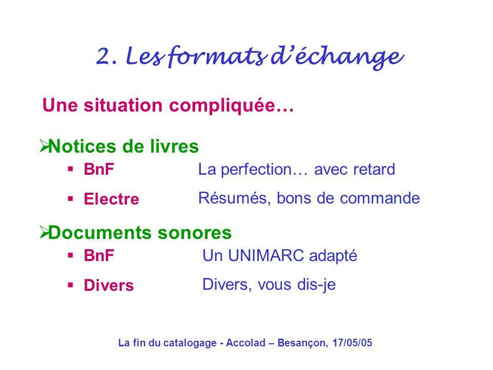 La fin du catalogage - Accolad – Besançon, 17/05/05 Une situation compliquée… 2.