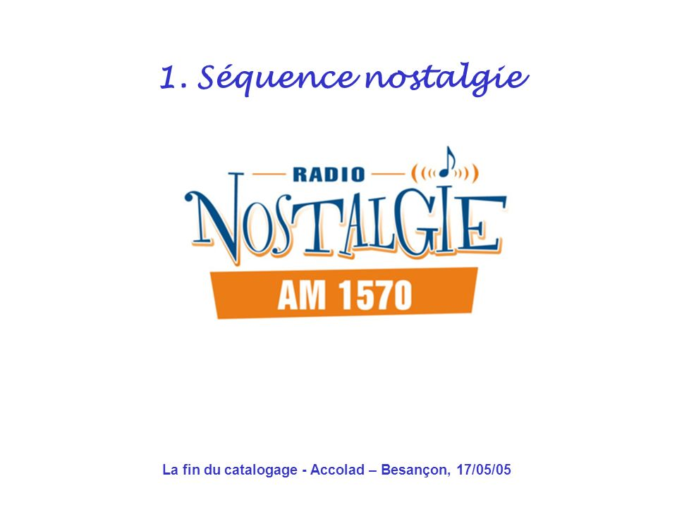 La fin du catalogage - Accolad – Besançon, 17/05/05 1.Séquence nostalgie 2.Le 1 er choc: les formats déchange 3.Le 2 e choc: le world wide web 4.Alors cette fin, cest pour quand .