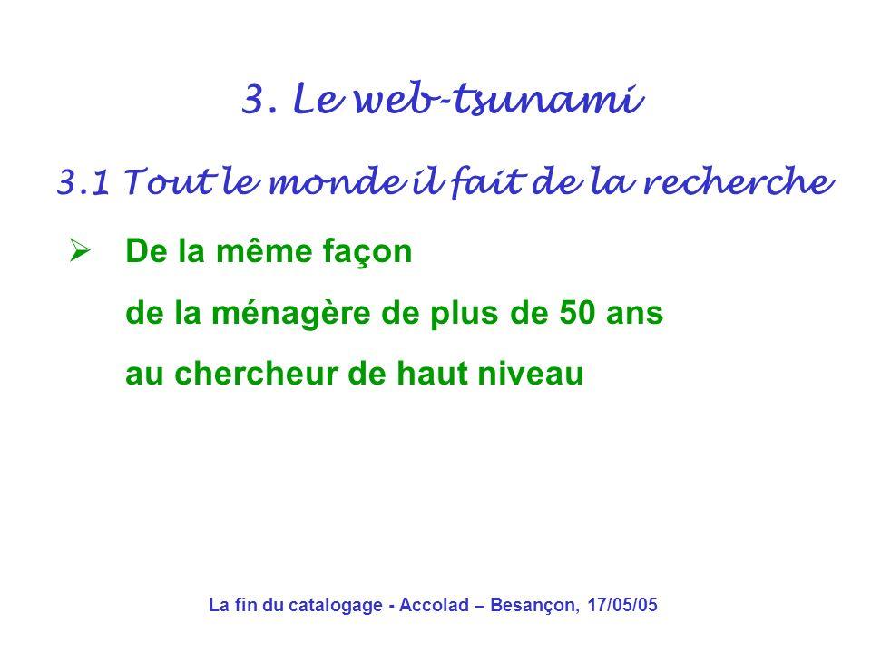 La fin du catalogage - Accolad – Besançon, 17/05/05 En 10 ans… Un bouleversement total Les bibliothèques dans lœil du cyclone, mais avec tout le monde 3.