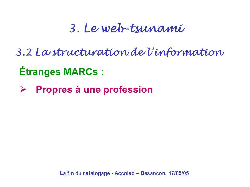 La fin du catalogage - Accolad – Besançon, 17/05/05 3.2 La structuration de linformation 3.