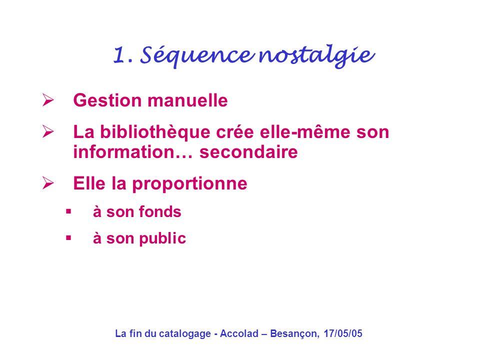 La fin du catalogage - Accolad – Besançon, 17/05/05 Gestion manuelle La bibliothèque crée elle-même son information… secondaire Elle la proportionne à son fonds à son public 1.