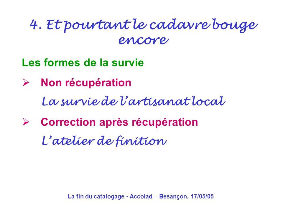 La fin du catalogage - Accolad – Besançon, 17/05/05 4. Et pourtant le cadavre bouge encore
