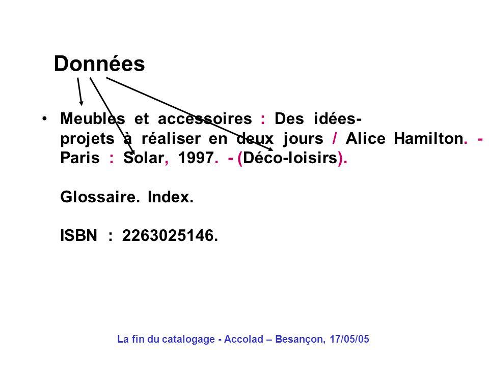 La fin du catalogage - Accolad – Besançon, 17/05/05 Données Codage Présentation Meubles et accessoires : Des idées- projets à réaliser en deux jours / Alice Hamilton.
