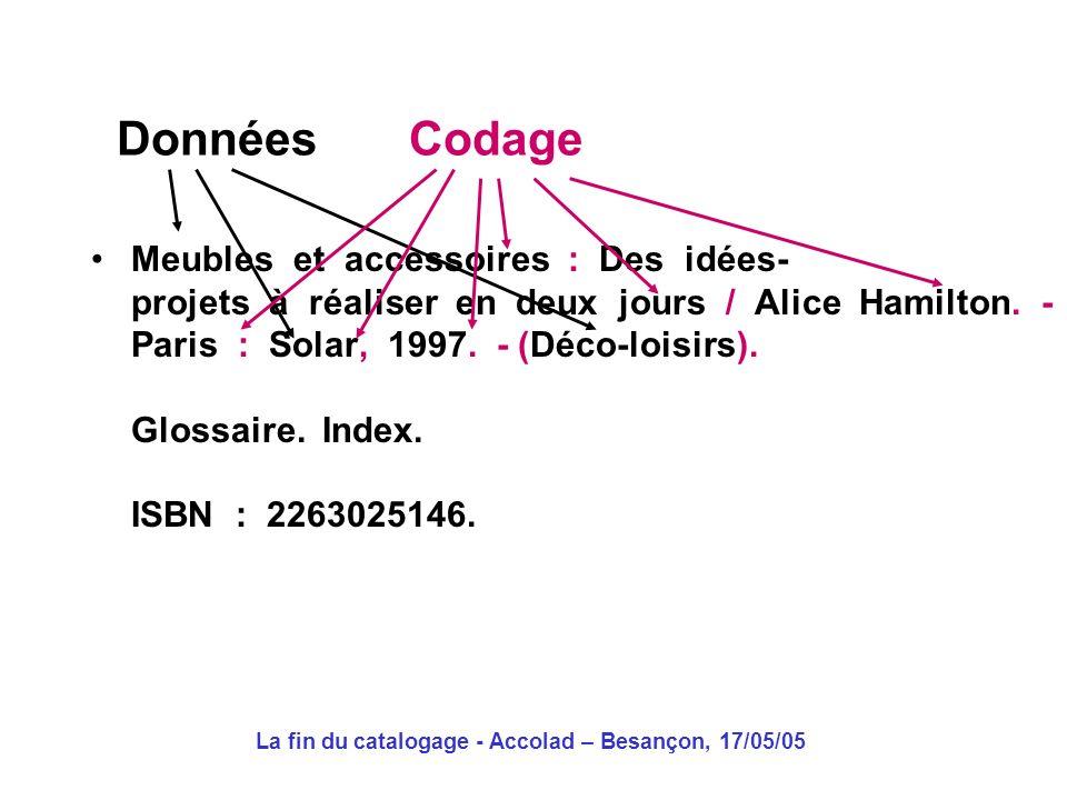 La fin du catalogage - Accolad – Besançon, 17/05/05 Format déchange : Catalogage partagé à grande échelle (OCLC) Non catalogage par récupération 2.