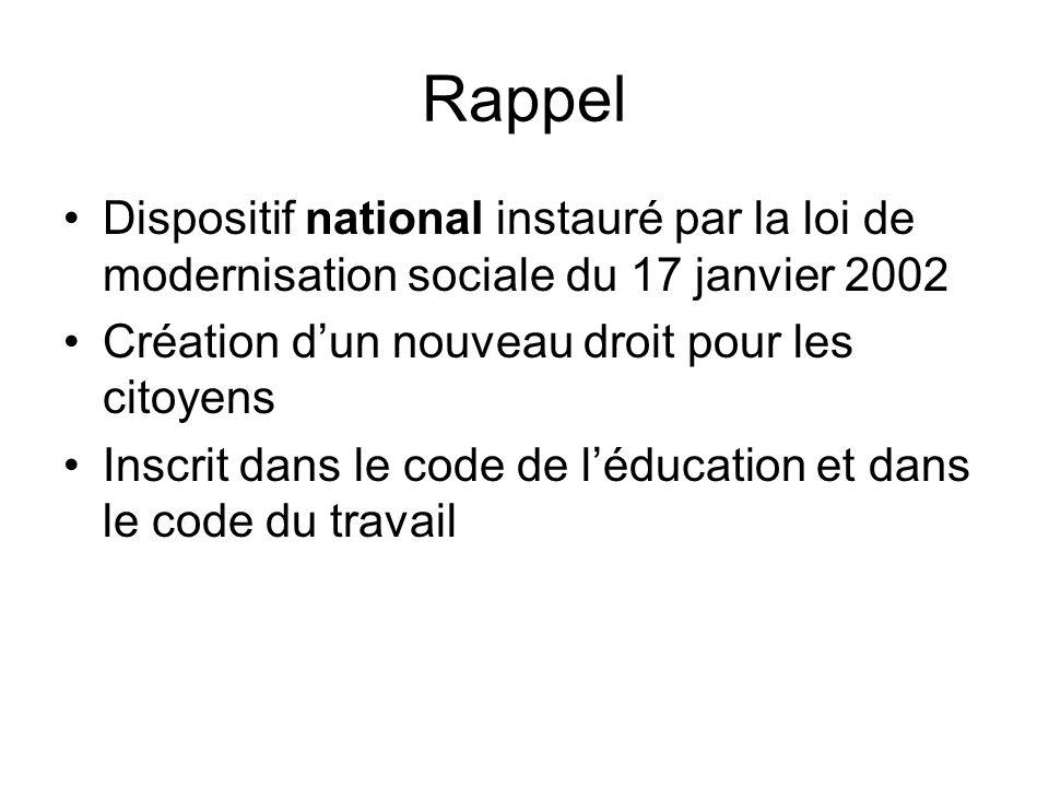 Rappel Dispositif national instauré par la loi de modernisation sociale du 17 janvier 2002 Création dun nouveau droit pour les citoyens Inscrit dans le code de léducation et dans le code du travail