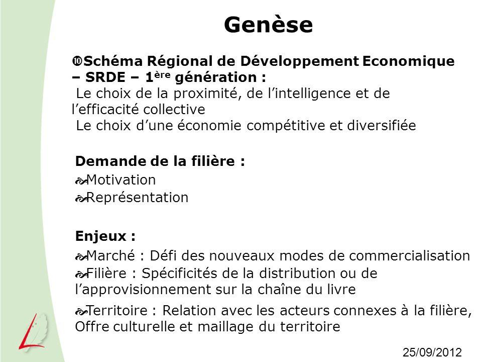 Genèse Demande de la filière : Motivation Représentation Schéma Régional de Développement Economique – SRDE – 1 ère génération : Le choix de la proxim