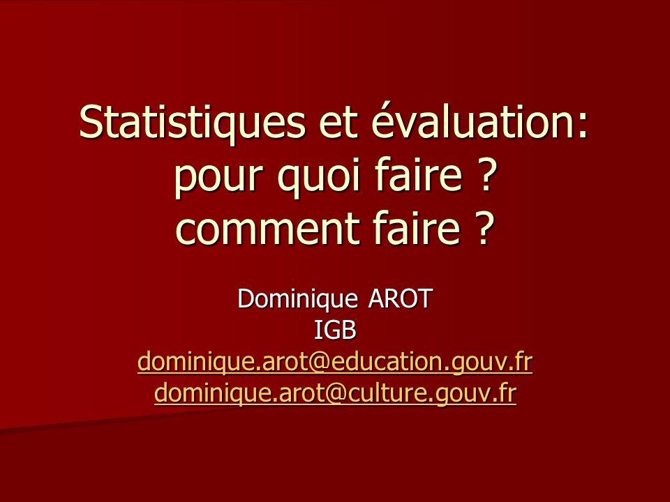 Statistiques et évaluation: pour quoi faire ? comment faire ? Dominique AROT IGB dominique.arot@education.gouv.fr dominique.arot@culture.gouv.fr