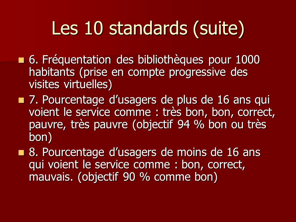 Les 10 standards (suite) 6.