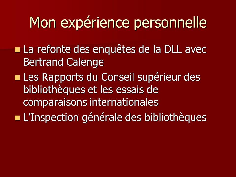 Mon expérience personnelle La refonte des enquêtes de la DLL avec Bertrand Calenge La refonte des enquêtes de la DLL avec Bertrand Calenge Les Rapport