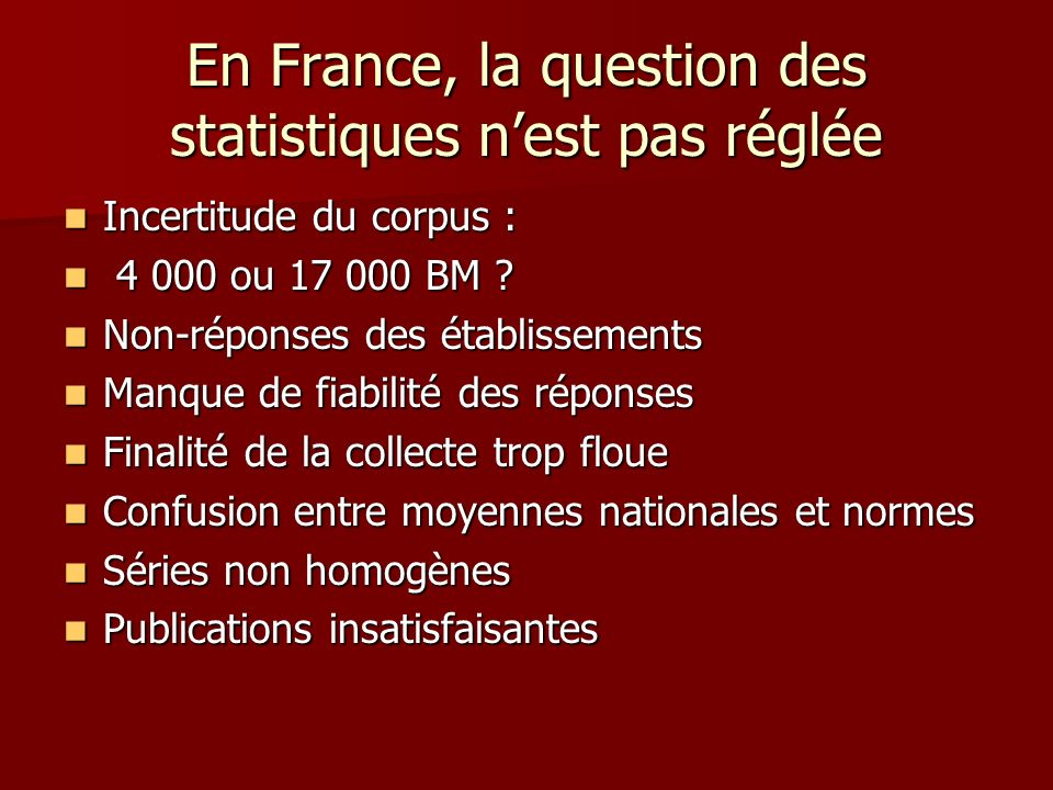En France, la question des statistiques nest pas réglée Incertitude du corpus : Incertitude du corpus : 4 000 ou 17 000 BM .