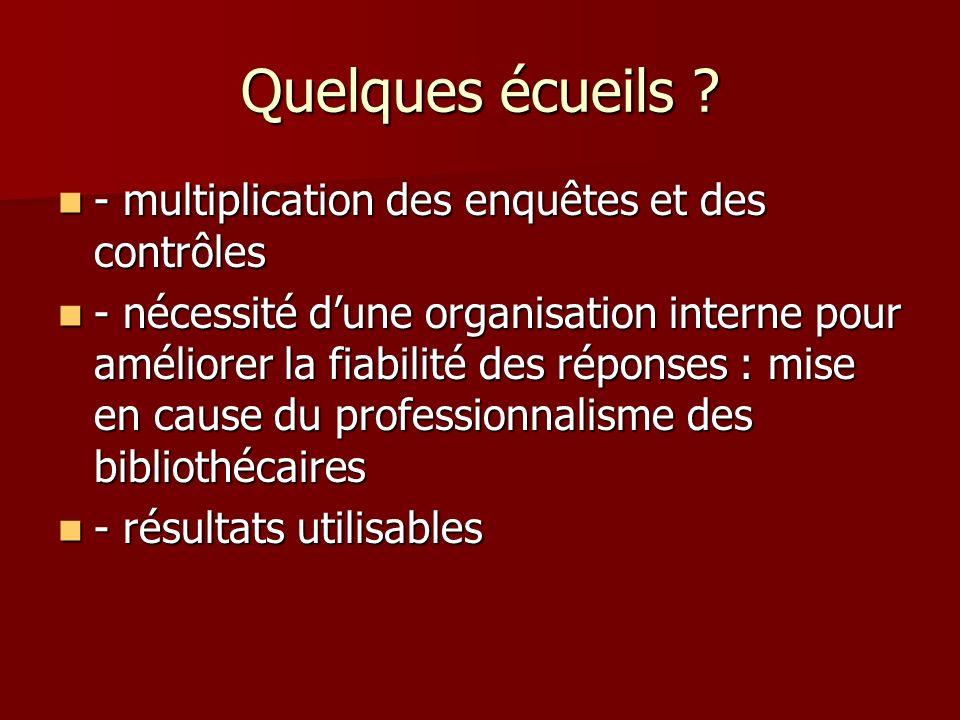 Quelques écueils ? - multiplication des enquêtes et des contrôles - multiplication des enquêtes et des contrôles - nécessité dune organisation interne