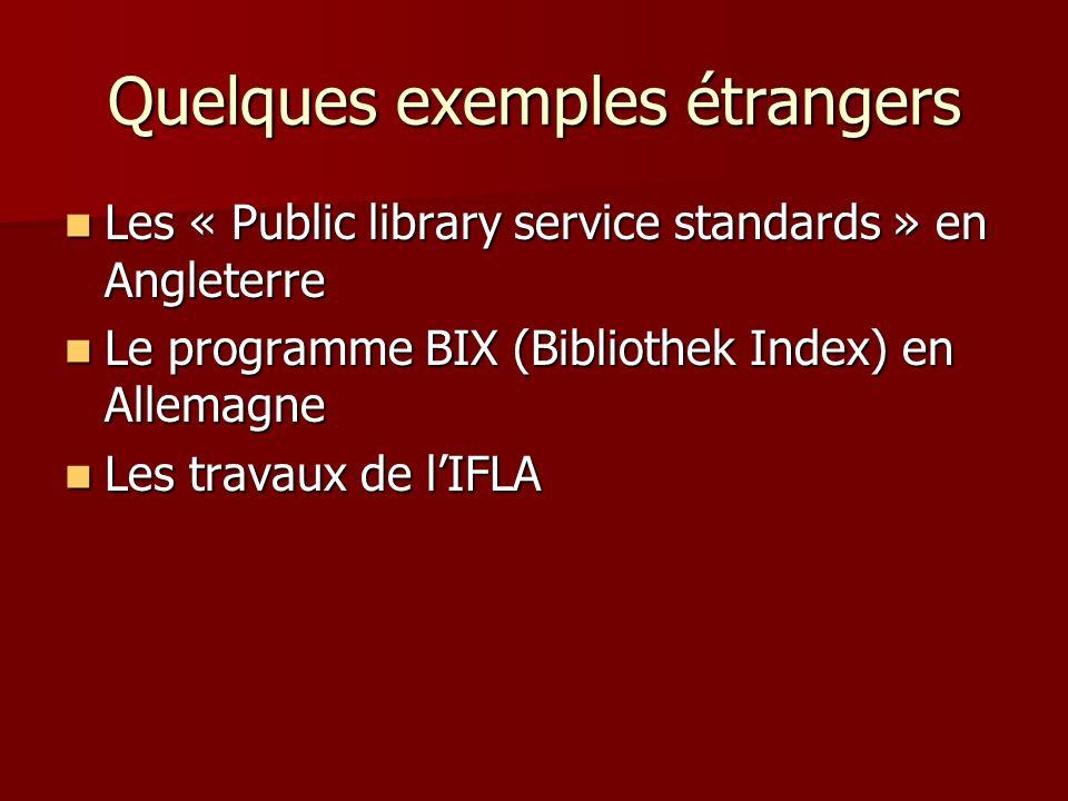 Quelques exemples étrangers Les « Public library service standards » en Angleterre Les « Public library service standards » en Angleterre Le programme BIX (Bibliothek Index) en Allemagne Le programme BIX (Bibliothek Index) en Allemagne Les travaux de lIFLA Les travaux de lIFLA